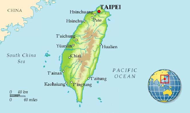 Тайвань на карте